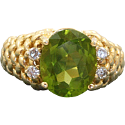 Estate 14 K 6CT Peridot and Diamond Ring