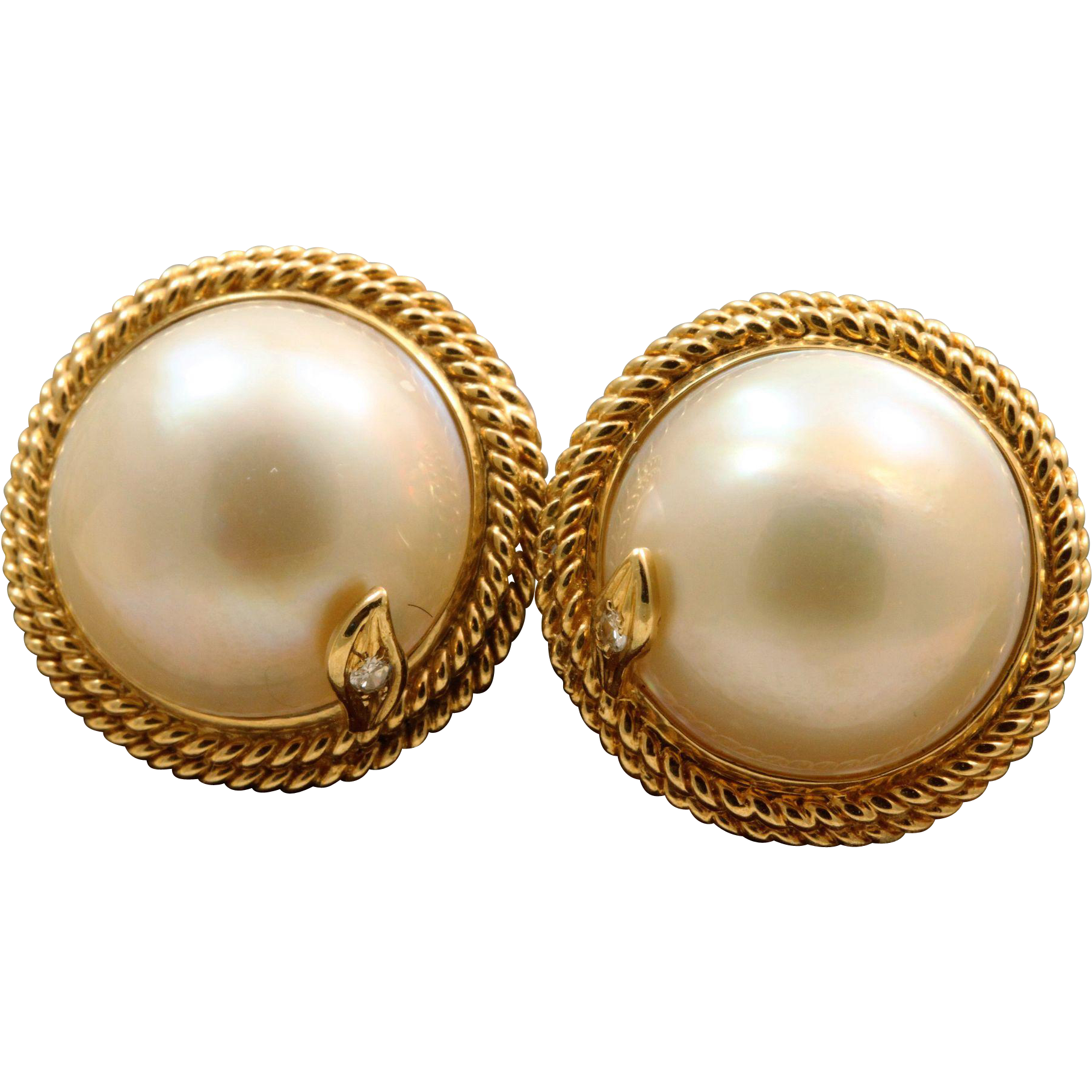Estate 14 K Mabe Pearl and Diamond Earrings