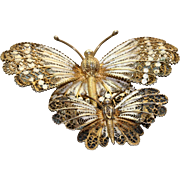 Estate Pair of 800 SilverFiligree Enamel Butterfly Pins