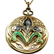 Estate Sterling Silver Enamel Art Nouveau Locket