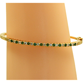 Estate 18 K Black Star & Frost Emerald and Diamond Bangle