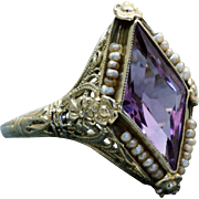 Estate 18 K 'Kite' Amethyst and Seed Pearl Ring