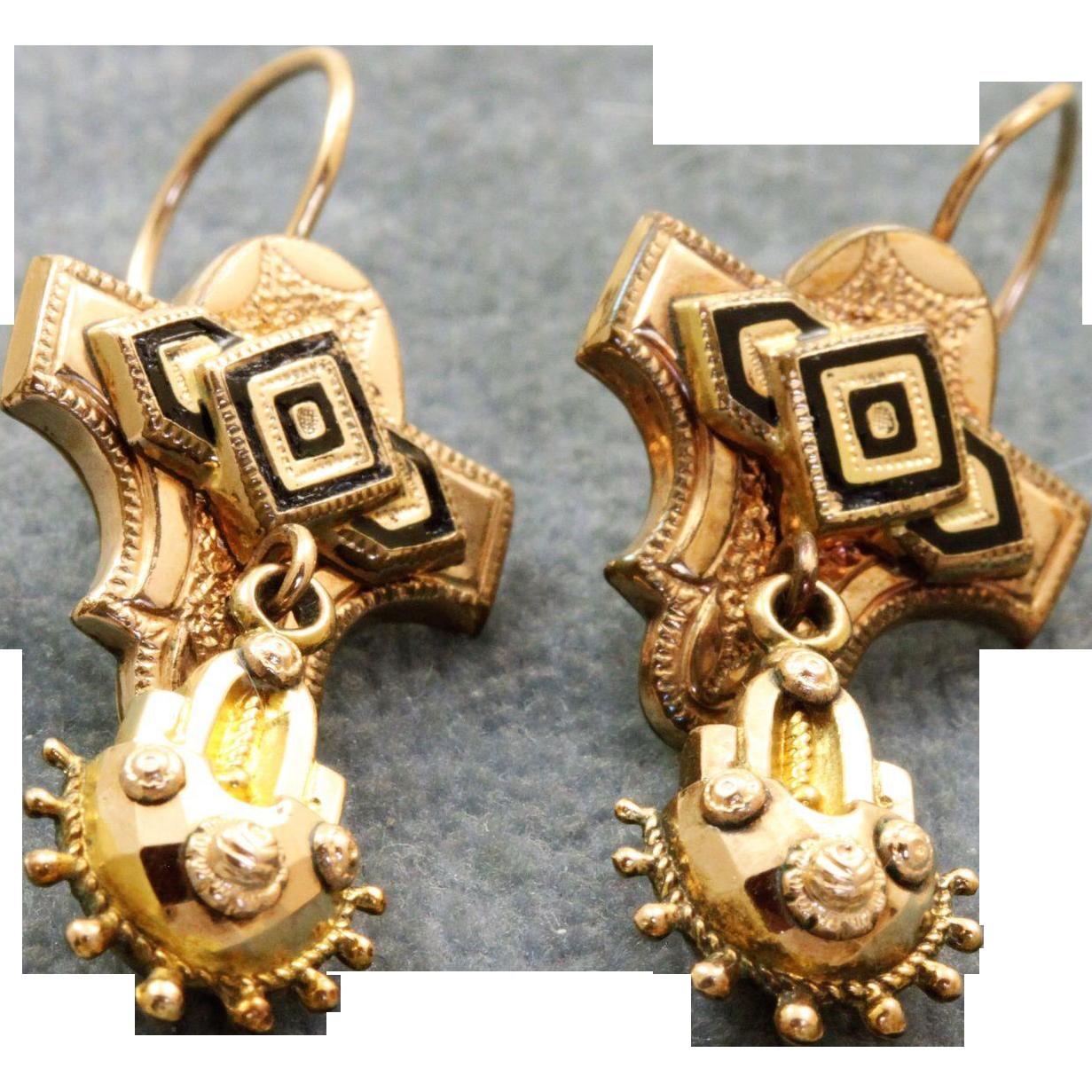 10 K Victorian Enamel Earrings