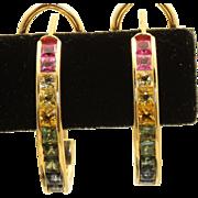 Estate 14 K Multi Colored Sapphire Half Hoop Earrings