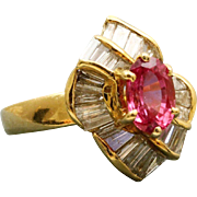 Estate 18 K Pink Sapphire and Diamond Ring