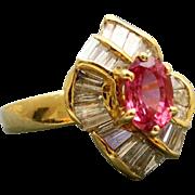 Estate 18 K Pink Sapphire and Diamond Ring