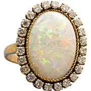 Estate 14 K 8 CT Opal and Diamond Ring