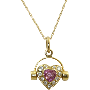14 K Estate Pink Sapphire and Diamond Heart Necklace