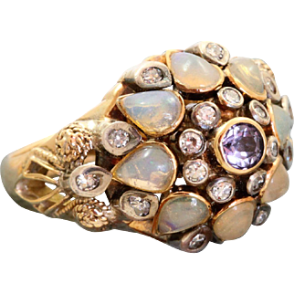 Estate 18 K Tanzanite Moonstone Diamond Princess Ring