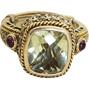 Estate Sterling Green Garnet and Amethyst Ring