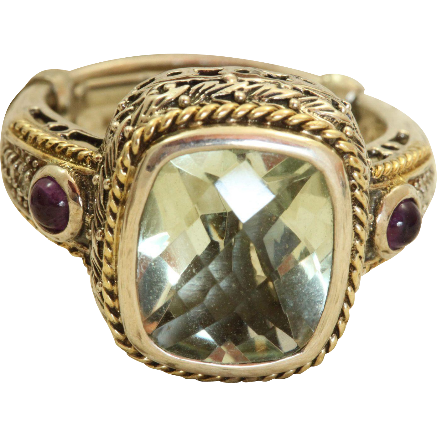 Estate Sterling Green Garnet and Amethyst Ring