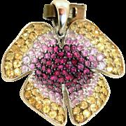 Estate 18 K Sapphire Orchid Pendant
