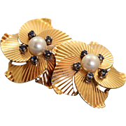 Estate 14 K Retro Pearl Sapphire Clip Earrings