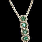 Estate 18 K Tsavorite Diamond Pendant