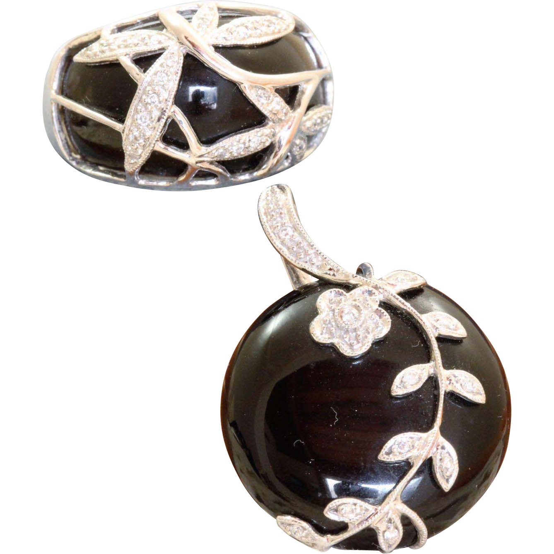 Estate 14 K Onyx and Diamond Pendant and Ring Set