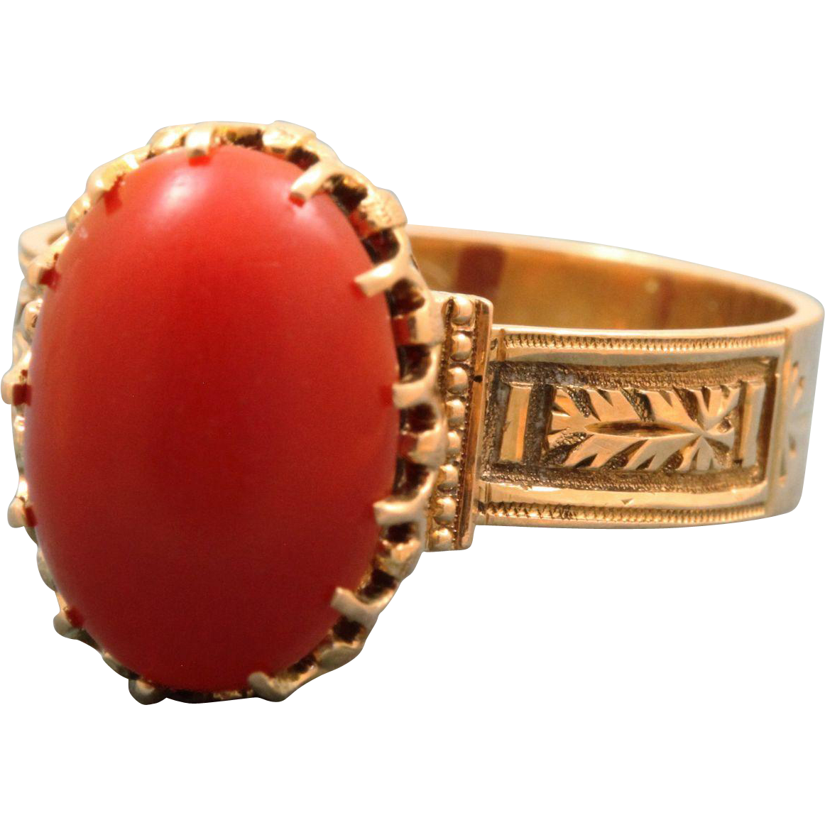 14 K Victorian Red Coral Ring