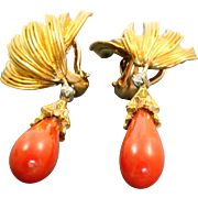 Estate 18 K Coral Diamond Tassel Ear Pendants
