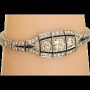 Estate Art Deco Platinum and Diamond Bracelet