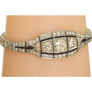 Estate Art Deco Platinum and Diamond Bracelet
