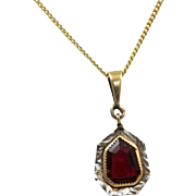 Estate 14 K Garnet Shield Pendant
