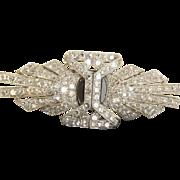 Estate Mid 20th Century Diamond Onyx and Platinum Clip Brooch