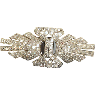 Estate Mid 20th Century Diamond Onyx and Platinum Clip Brooch