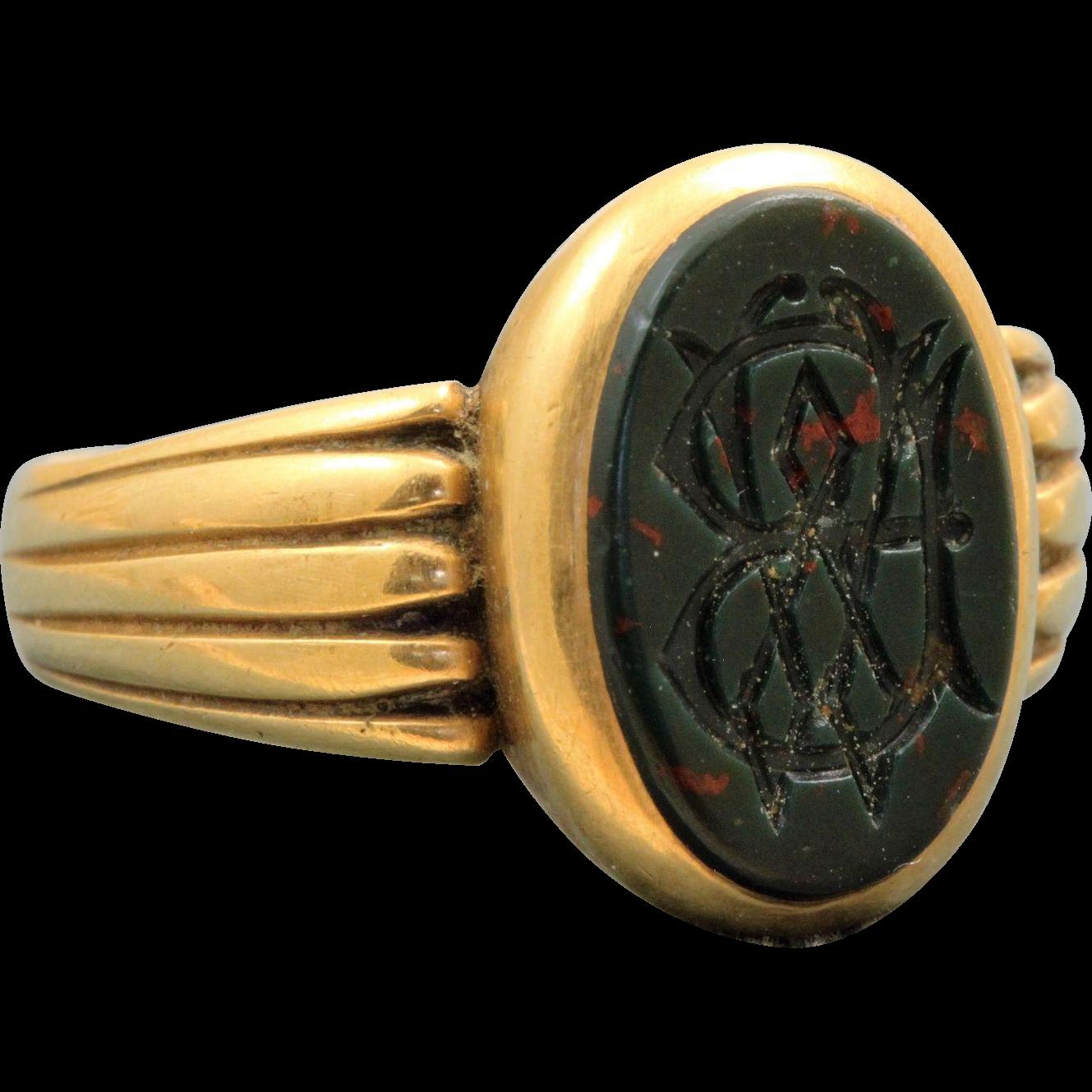 Birmingham 1884 18 CT Blood Stone Signet Ring