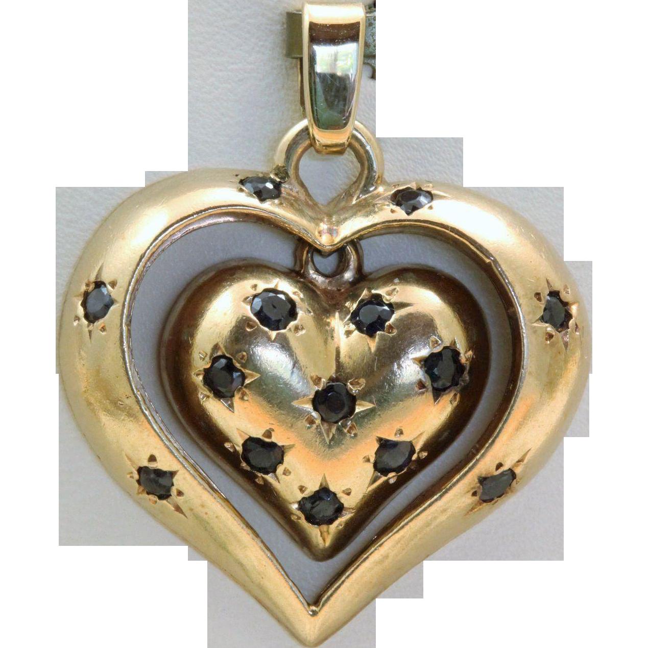 Estate 14 K Sapphire Double Heart Pendant