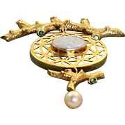 Estate 18 K Custom Made Opal and Emerald Brooch