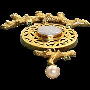 Estate 18 K Custom Made Opal and Emerald Brooch