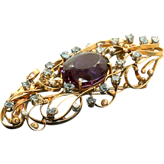 Estate 18 K Amethyst Aquamarine and Diamond Brooch