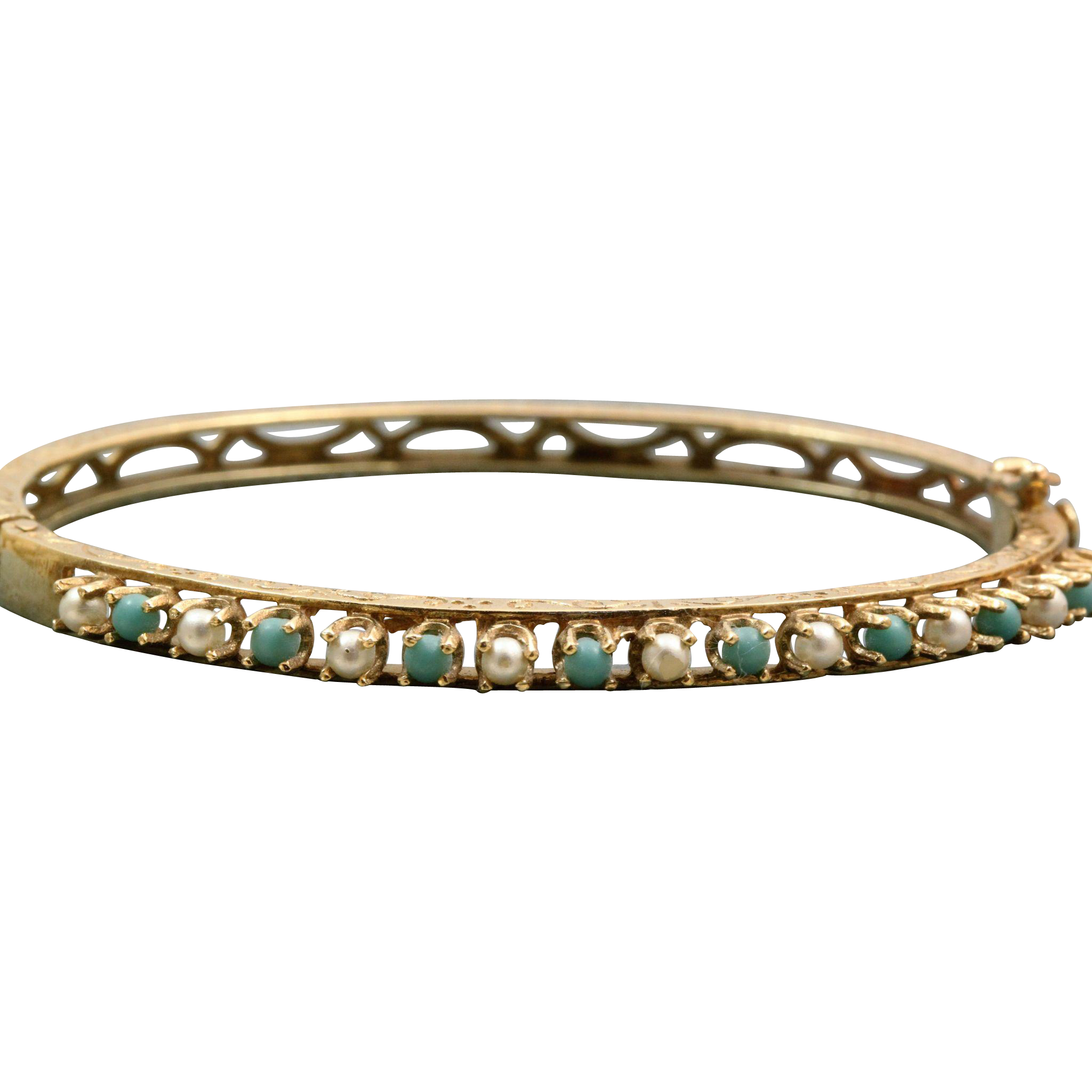 Estate 14 K Turquoise Pearl Bangle