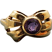 Estate 14 K Amethyst Bow Ring
