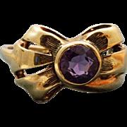 Estate 14 K Amethyst Bow Ring
