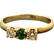 Estate 14 K Emerald and Diamond 3 Stone Ring
