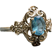Estate 14 K 1 CT Topaz Dinner Ring