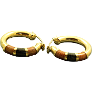 Estate 14 K Hoop and Enamel Earrings from Italy