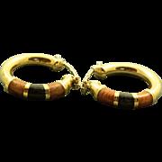Estate 14 K Hoop and Enamel Earrings from Italy