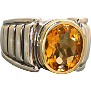 Estate 18 K/Sterling Caviar Citrine Ring