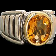 Estate 18 K/Sterling Caviar Citrine Ring
