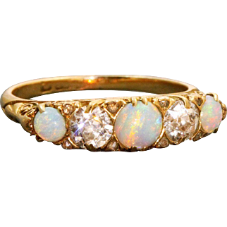 Estate 18 K Opal and Diamond 5 Stone Ring