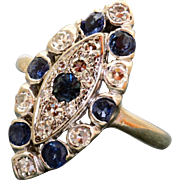 Estate 18 K Diamond and Sapphire Lozenge Ring