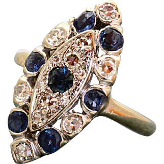 Estate 18 K Diamond and Sapphire Lozenge Ring