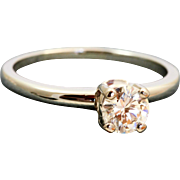 Estate 18 K Jabel 0.50 CT Solitaire GIA Certified Diamond