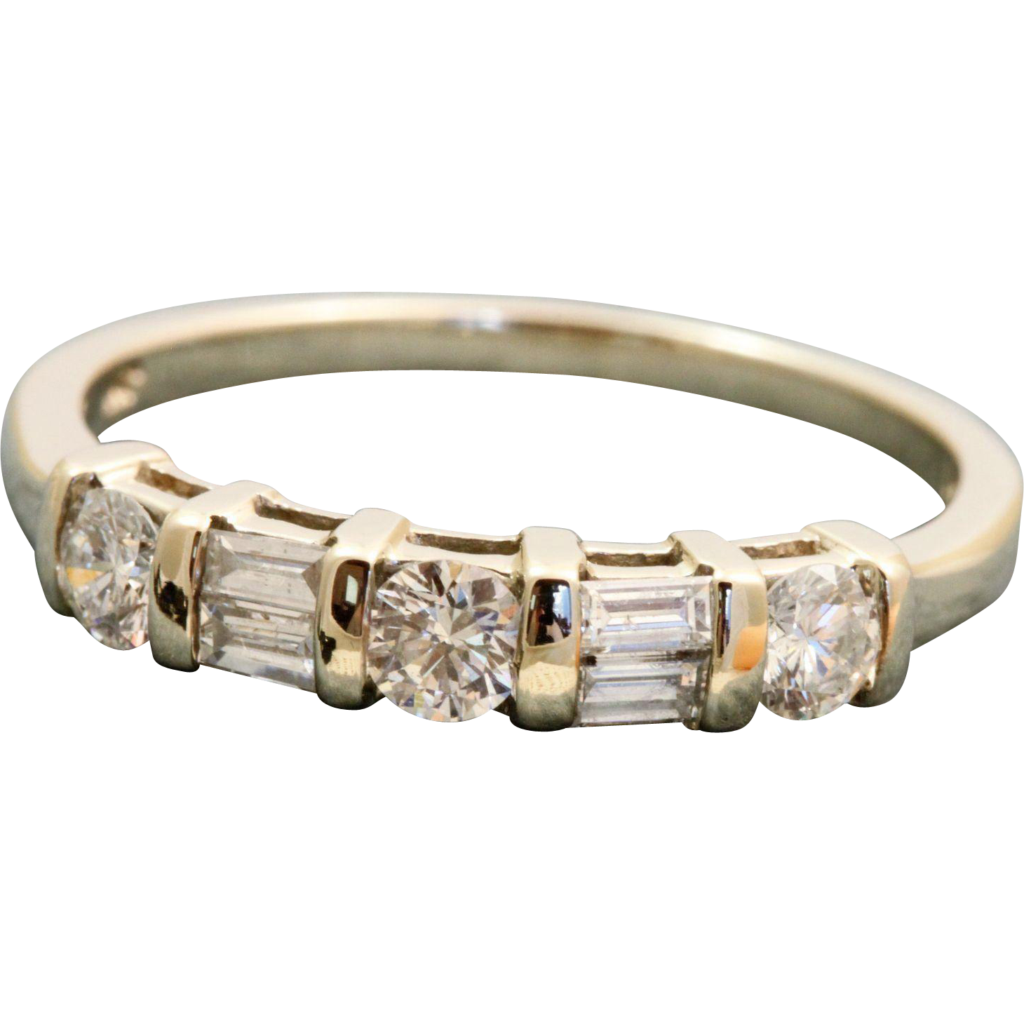 Estate 14 K Mixed Cut 1 CT Diamond Band