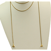 Estate 18 K Tiffany Snake Chain Bone End Lariat Necklace