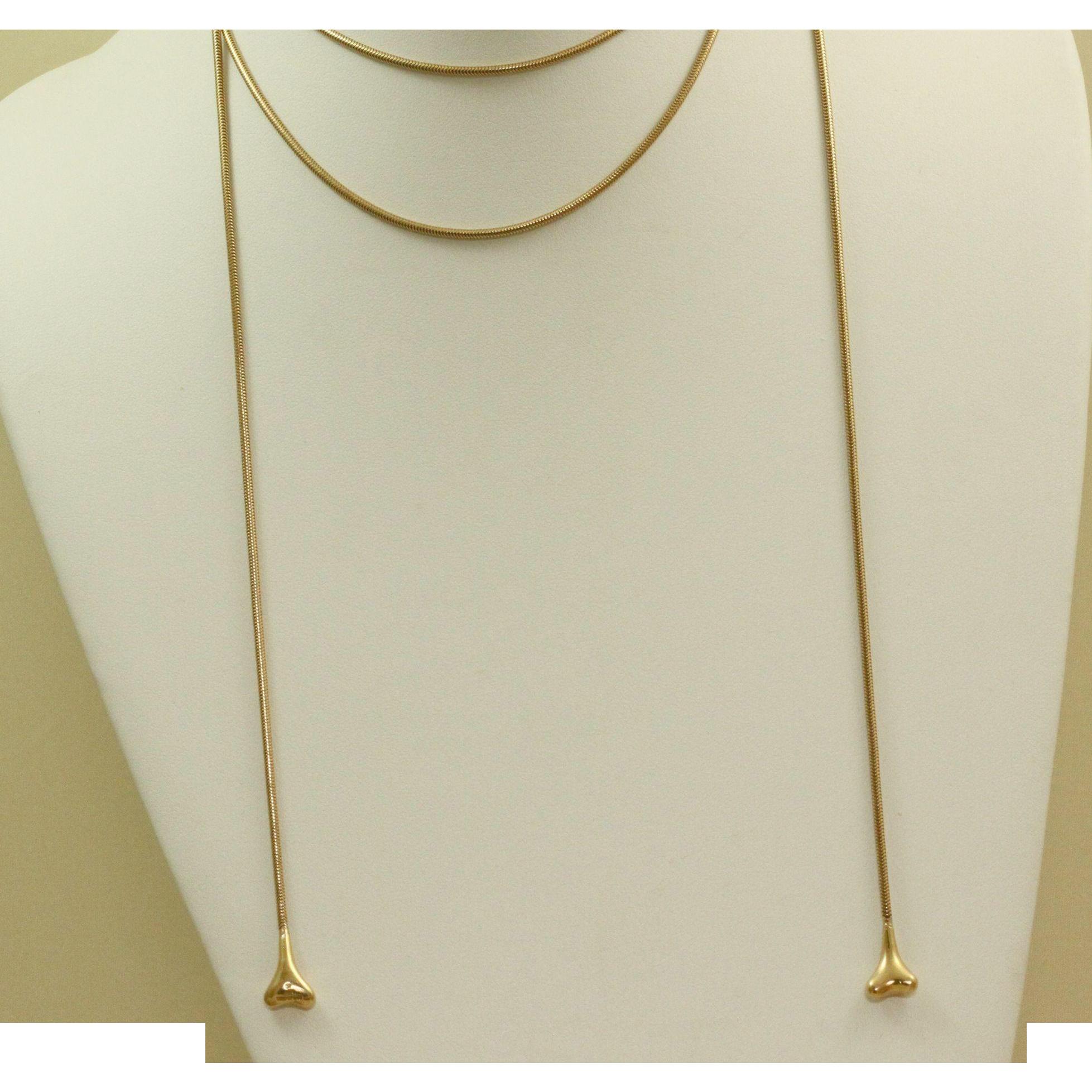Estate 18 K Tiffany Snake Chain Bone End Lariat Necklace