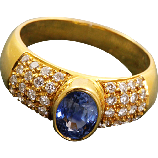 Estate 20K 1CT Sapphire and Diamond Ring