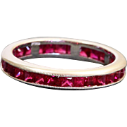 Estate Platinum 1.25 CT Ruby Eternity Band