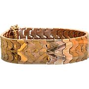 Estate 14 K Green and Pink Gold Chased Bracelet